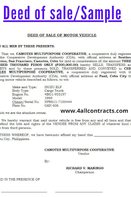 Deed of sale of motor vehicle sample doc word template contract