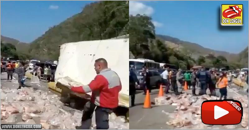 Se volteó un camión repleto de Pernil Ruso en la autopista Valencia – Puerto Cabello