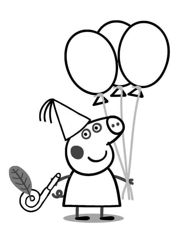 COLOREAR PEPPA PIG FIESTA DE CUMPLEAÑOS - Dibujos para Colorear y ...