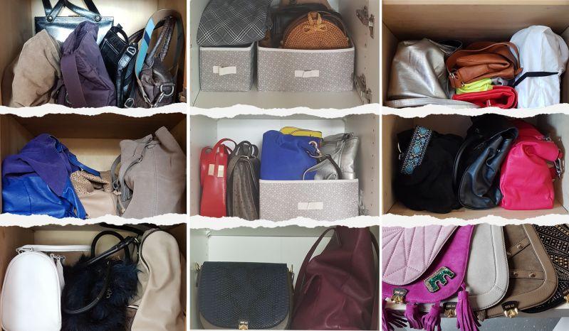 Taschen stehend im Schrank lagern