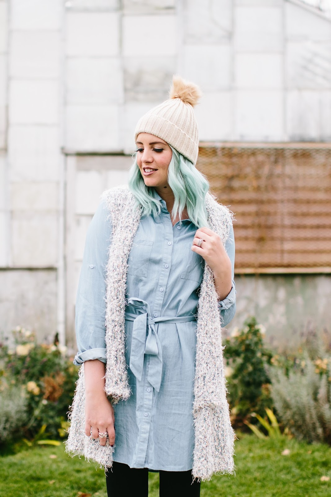 Fall Outfit, Denim Dress, Chambray Dress