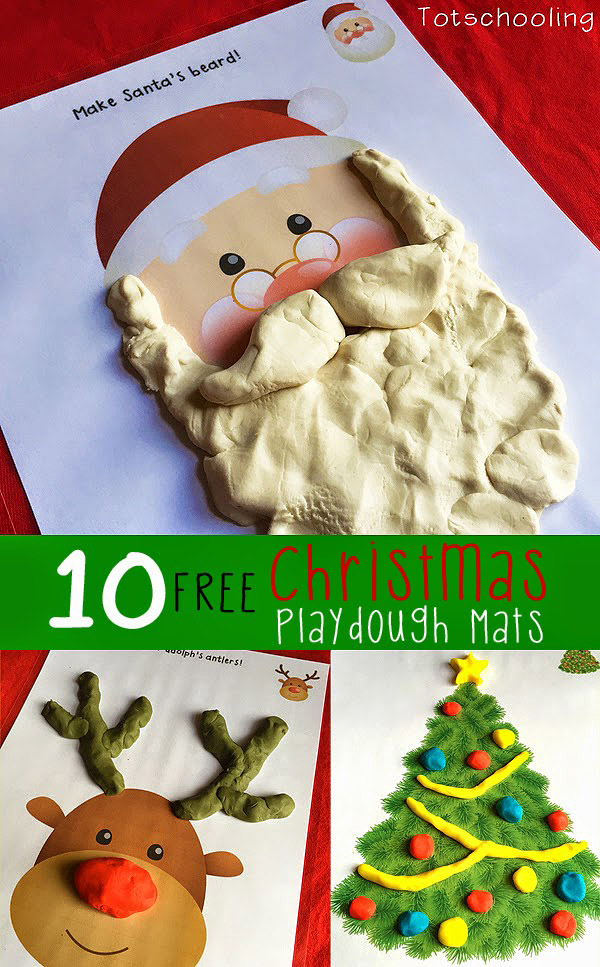 10 Free Printable Christmas Playdough mats including Santa Claus, Rudolph, Christmas tree, snowman, wreath, ornaments, presents, candy canes and more!