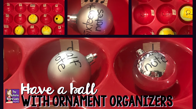 Learn how to create a variety of music workstations using a plastic Christmas ornament organizer that you can use all year round.  Students can practice identifying music symbols, instrument families, note values and more by gently bouncing a ball or by organizing ornaments!  Fun!  This DIY music room project will impress your music students.