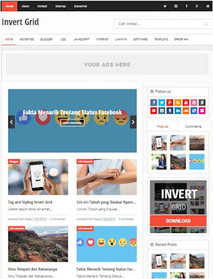 Invertgrid Adsense Responsive Blogger Templates Without Footer Credit