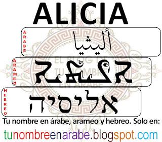 Alicia escrito en hebreo