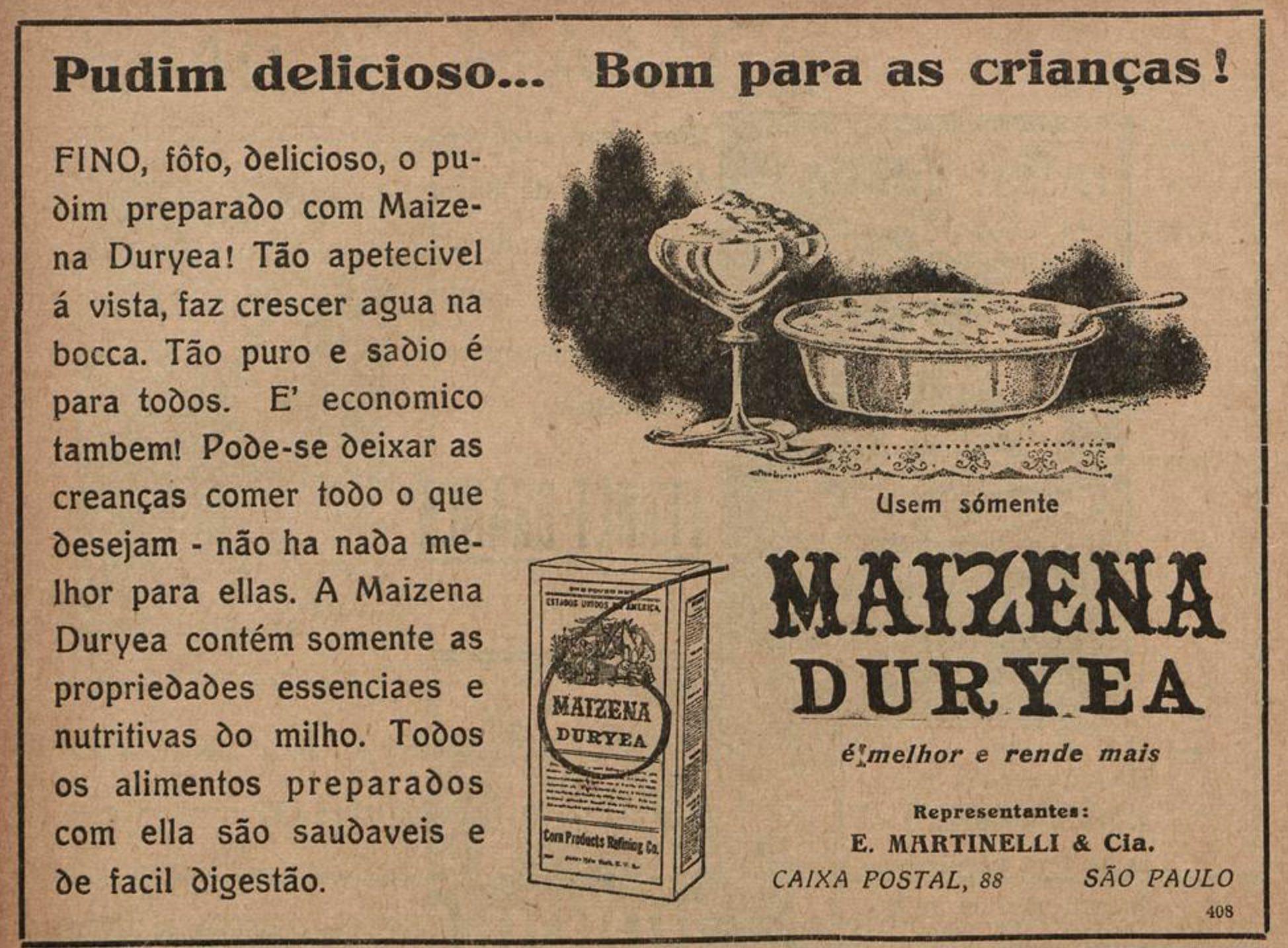 Anúncio veiculado em 1927 promovia a Maizena junto com receita de pudim