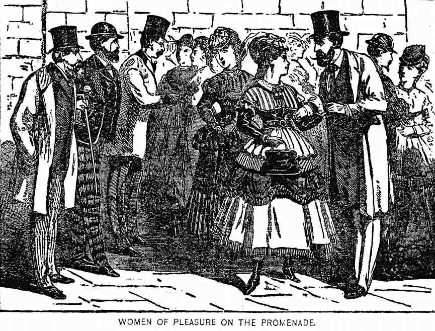 1865 sex workers, an illustration, women of pleasure on the promenade