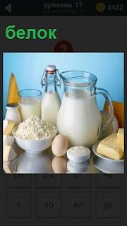 Продукты питания содержащие белок, находящиеся в яйце, твороге, молоке в графине, кефир в бутылке