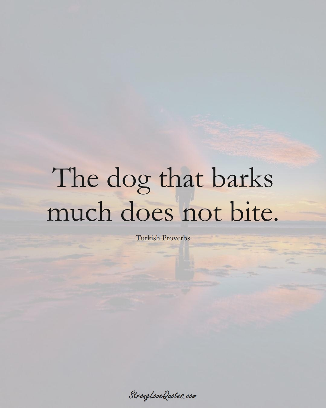 The dog that barks much does not bite. (Turkish Sayings);  #MiddleEasternSayings
