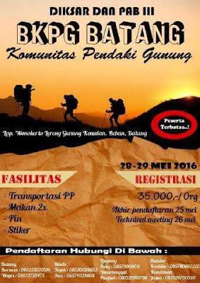 Event: Batang | 28-29 Mei 2016 | Batang Komunitas Pendaki Gunung | Diksar dan PAB III