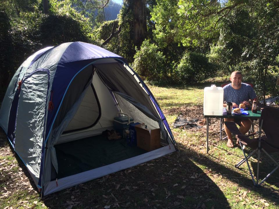 Male Camping in Hawkesbury Region Australia
