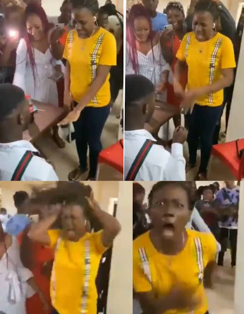 Lady runs mad after her boyfriend proposed to her on Valentines day in Benin (Watch Video)