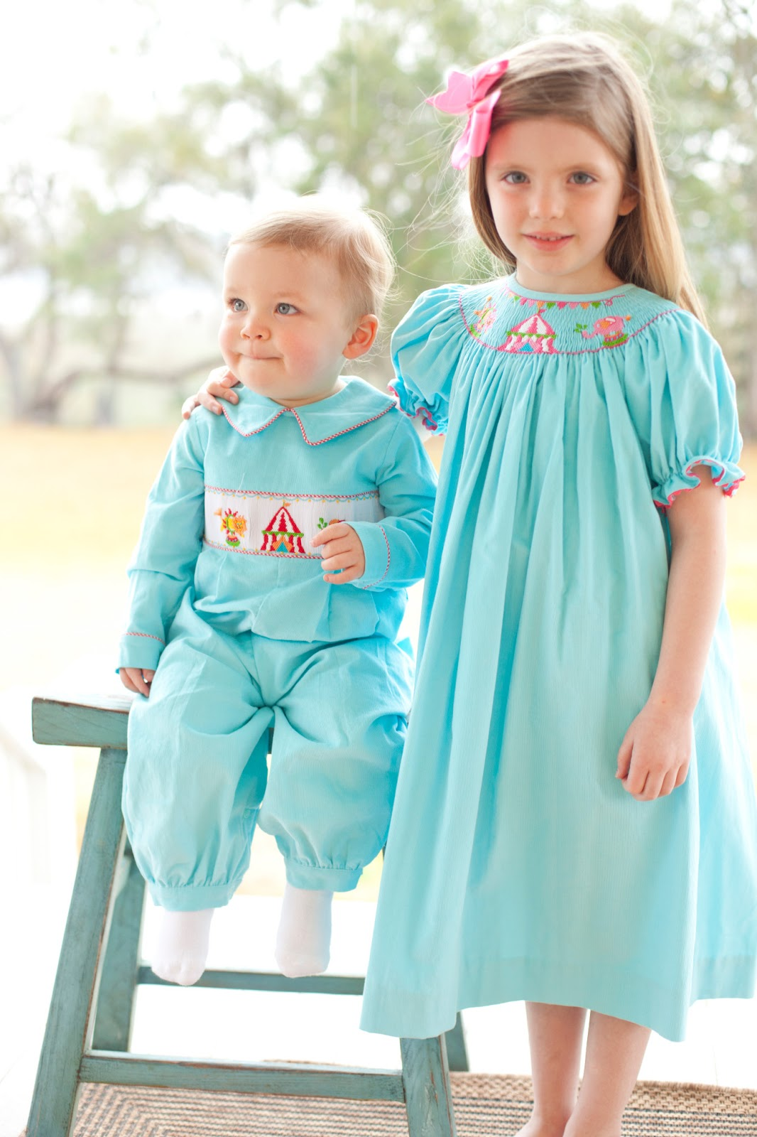smocked children's clothing: Circus circus!
