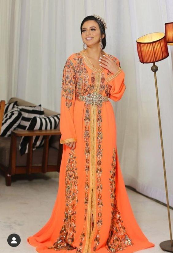 caftan orange mariée style moderne 2021