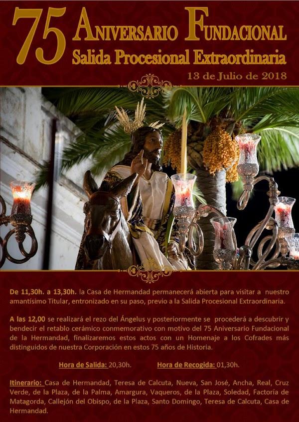 Horario e Itinerario Salida Extraordinaria de La Borriquita de Puerto Real. 13 de Junio del 2019