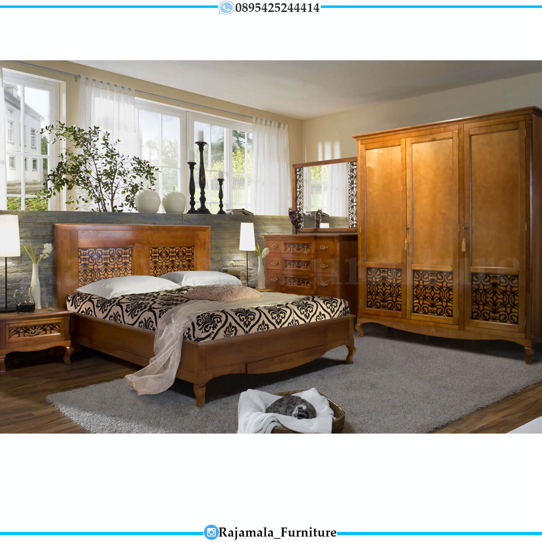 Jual Tempat Tidur Minimalis Classic Natural Jati Perhutani Jepara RM-0447