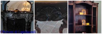 camino in piperno, tavolo in legno, arredi originali della Casina