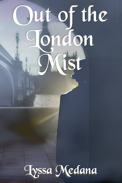 cover for Out of the London Mist, showing a hazy figure by a bridge in a misty cityscape