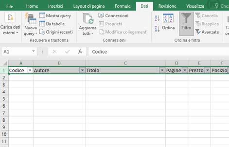 Come creare la struttura per gestire archivio libri in excel