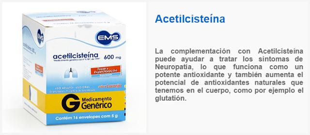 La complementación con Acetilcisteína puede ayudar a tratar los síntomas de Neuropatía, lo que funciona como un potente antioxidante y también aumenta el potencial de antioxidantes naturales que tenemos en el cuerpo, como el glutatión