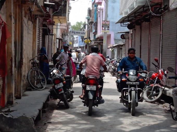 बाजार में उमड़ रही भीड़, पुलिस निष्क्रिय