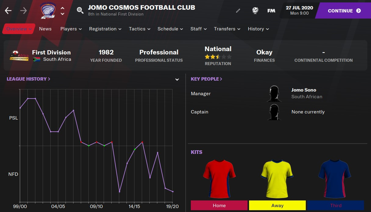 Jomo Cosmos Football Manager 2021