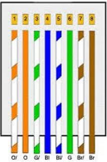 Warna kabel Straight pada ujung A