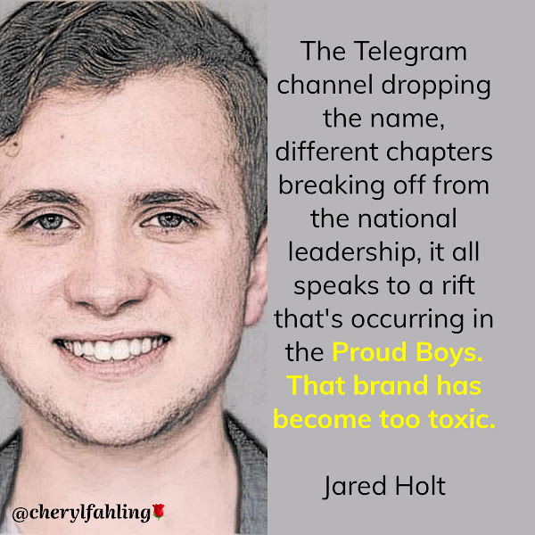 The Telegram channel dropping the name, different chapters breaking off from the national leadership, it all speaks to a rift that's occurring in the Proud Boys. That brand has become too toxic. — Jared Holt, a fellow at the Atlantic Council's Digital Forensic Research Lab