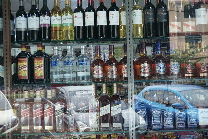 Minuman beralkohol yang dipajang
