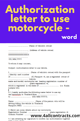 how to make authorization letter to use motorcycle ?