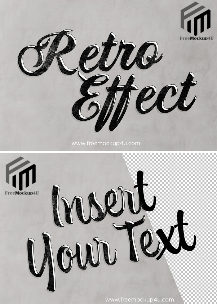 Retro Text Effect with Black Vintage Style Mockup