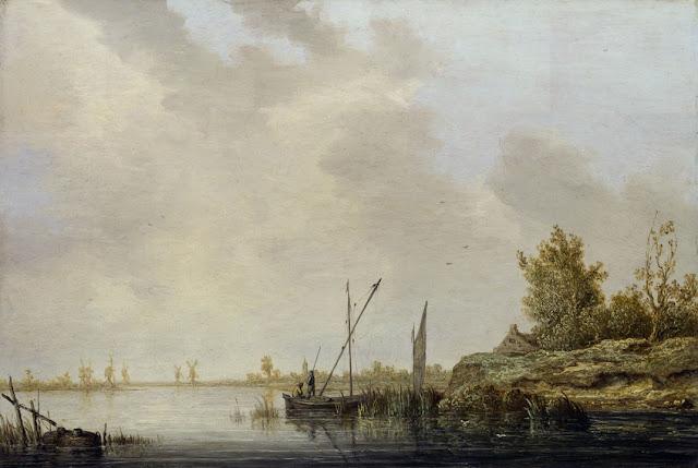 Альберт Кёйп - Речной пейзаж с мельницами на горизонте. 1640-42