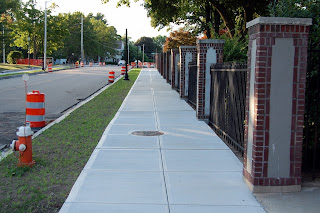new sidewalk in front of Dean College