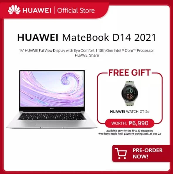 Promo Alert: Pre-Order Huawei MateBook D14 2021 for Only Php46,999 and Get a Free Huawei Watch GT 2e worth Php6,990