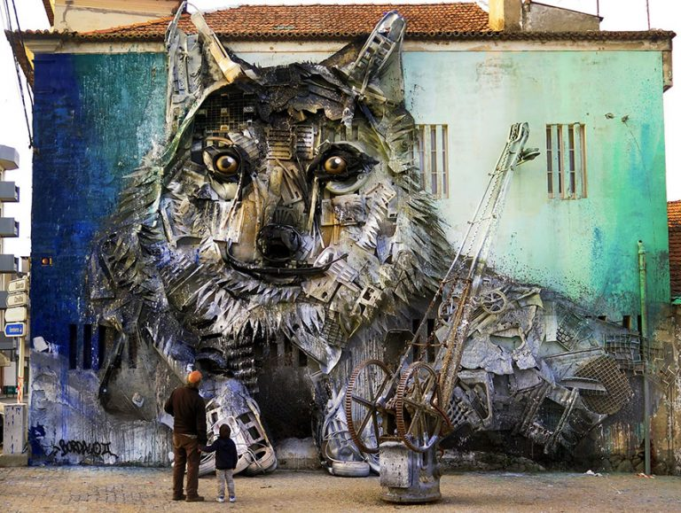 Street Artist Transforms Ordinary Junk Into Animals To Remind About Pollution - Wolf
