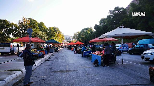 Μειωμένη η κίνηση στη λαϊκή αγορά του Ναυπλίου λόγω του lockdown (βίντεο)