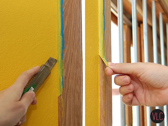Passar estilete na extremidade da parede amarela