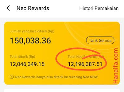 Bukti Rp12 juta dari Neo+ Plus