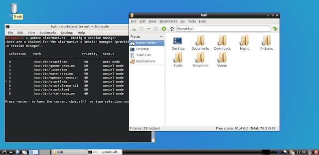Ambiente gráfico LXDE no Kali Linux