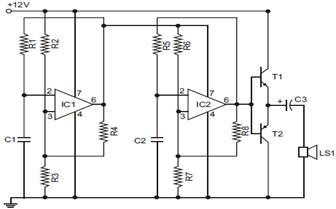 Electronic Siren Circuit Diagram using 741 Op Amp IC