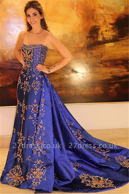 Amazing Strapless Applique without Sleeve A-Line Long Prom Dress UK
