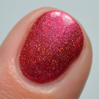 candy apple red holographic nail polish