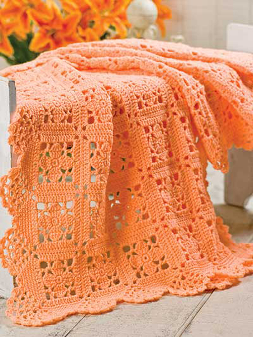Lacy Squares With Scallop Edging - Crochet Pattern