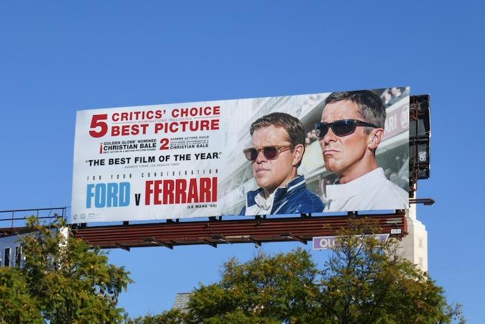 Ford v Ferrari Critics Choice billboard