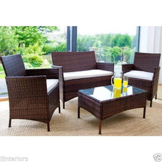 RATTAN GARDEN FURNITURE SET 4 , Brown, £98.00 Rates Slashed to 30TH AUGUST eBay UK