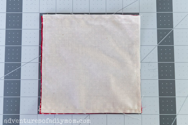 sew the two squares together around all four sides