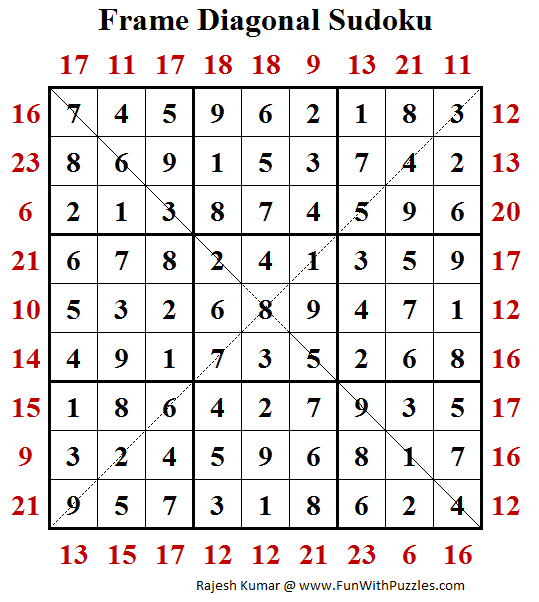 Frame Diagonal Sudoku (Fun With Sudoku #196) Solution