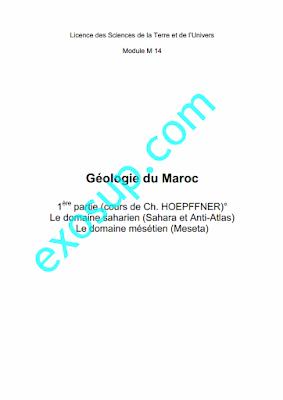 Cours Géologie du Maroc I STU S5 fs rabat