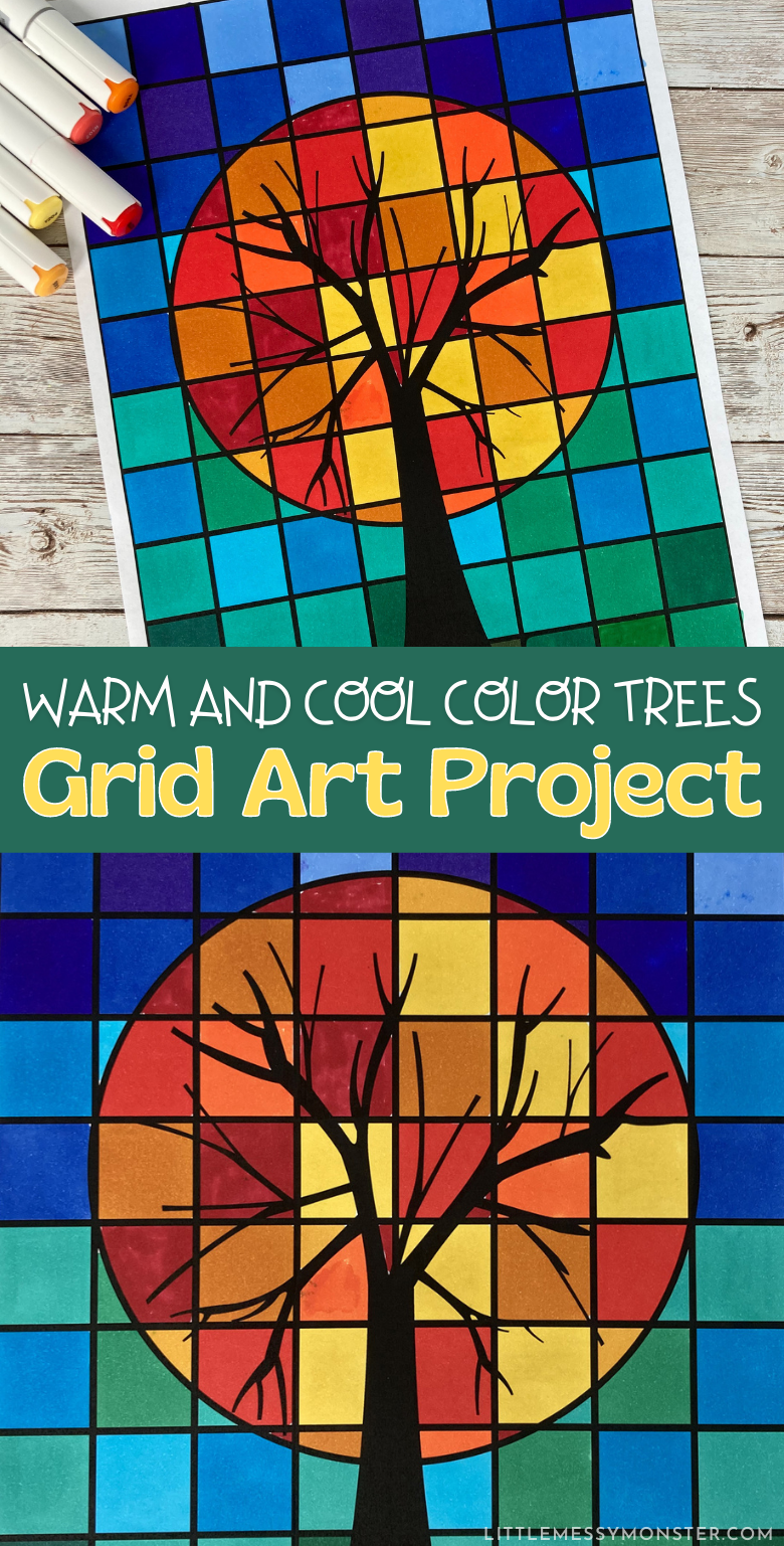 Warm and cool colors in art tree art project. Grid art printable.