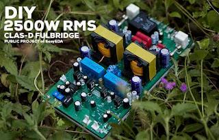 Amplificador DIY Classe-D Fullbridge D2K 2500W RMS – Construção completa